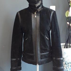 Jones NY black suede leather jacket size small